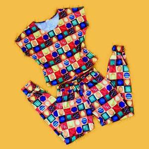 "VTG. 80s ""Candy Crush"" Set - Top + Harem Pants"
